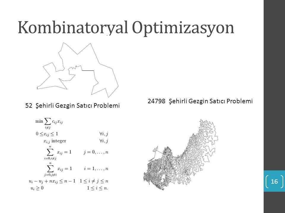 Kombinatoryal Optimizasyon 16 52 Şehirli Gezgin Satıcı Problemi 24798 Şehirli Gezgin Satıcı Problemi