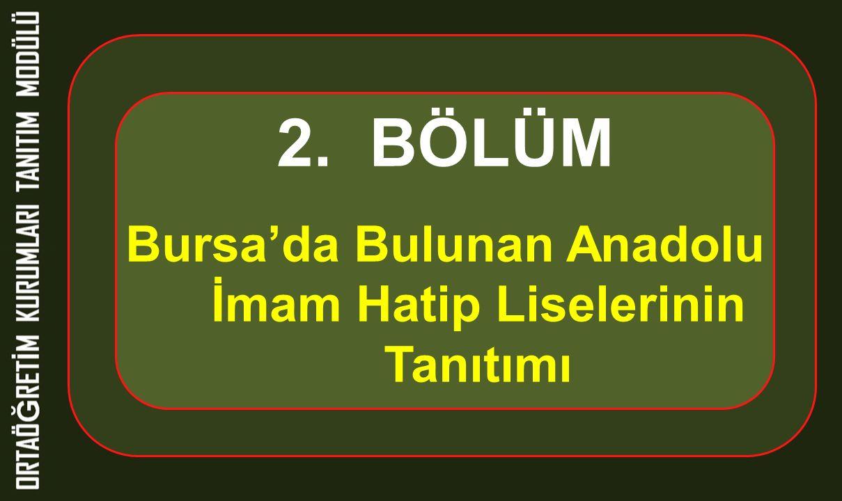 2. BÖLÜM Bursa'da Bulunan Anadolu İmam Hatip Liselerinin Tanıtımı