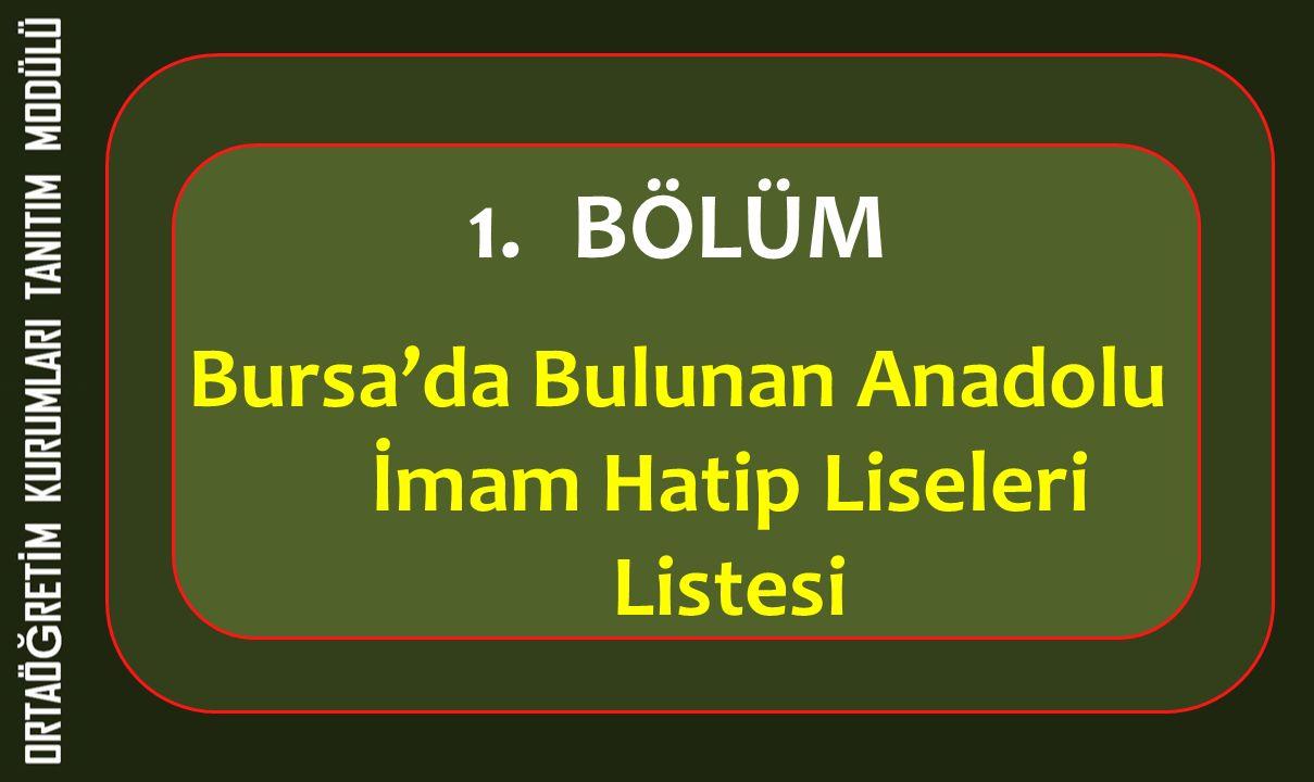 1.BÖLÜM Bursa'da Bulunan Anadolu İmam Hatip Liseleri Listesi