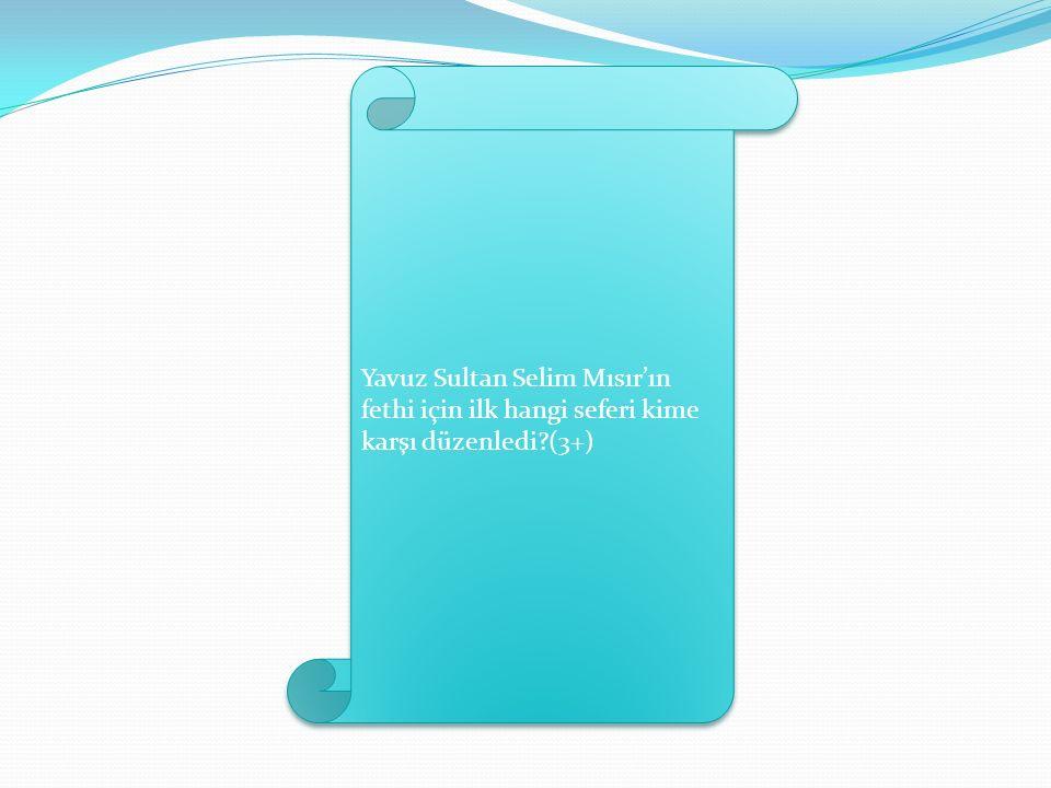 Yavuz Sultan Selim Mısır'ın fethi için ilk hangi seferi kime karşı düzenledi (3+)