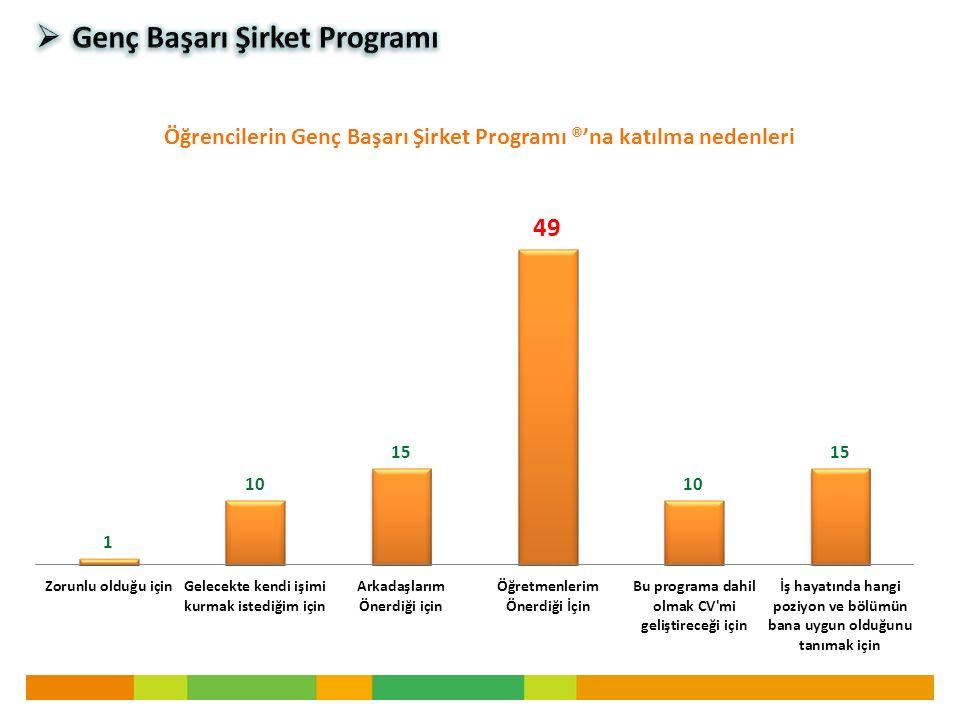 Öğrencilerin Genç Başarı Şirket Programı ®'na katılma nedenleri