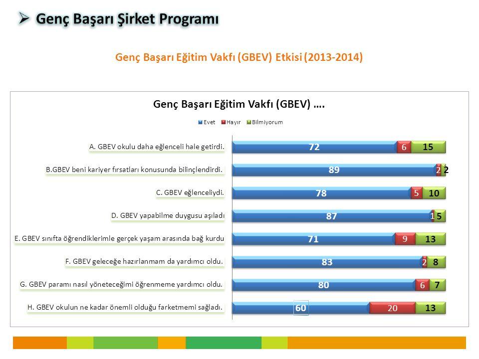 Genç Başarı Eğitim Vakfı (GBEV) Etkisi (2013-2014)
