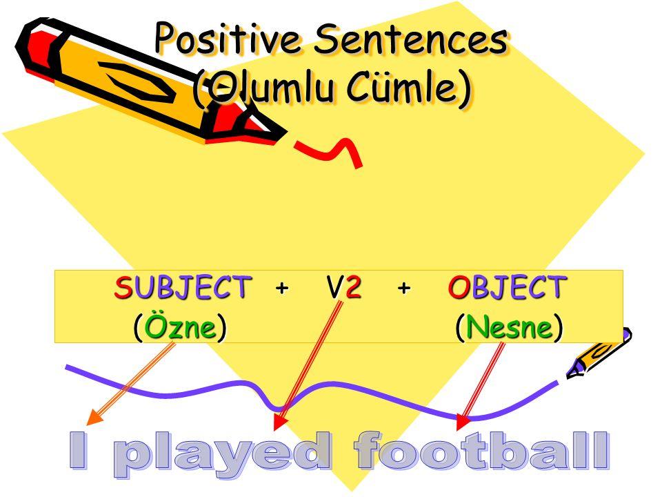Positive Sentences (Olumlu Cümle) SUBJECT + V2 + OBJECT (Özne) (Nesne) (Özne) (Nesne)
