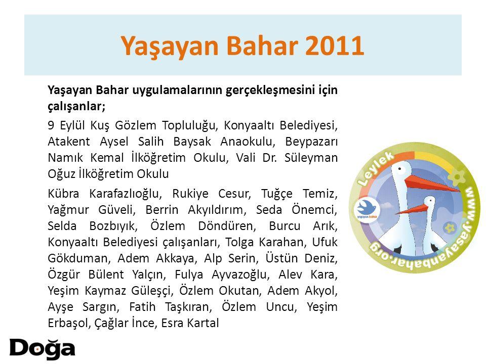 Yaşayan Bahar 2011 Yaşayan Bahar uygulamalarının gerçekleşmesini için çalışanlar; 9 Eylül Kuş Gözlem Topluluğu, Konyaaltı Belediyesi, Atakent Aysel Sa