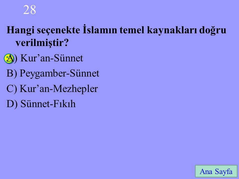 28 Ana Sayfa Hangi seçenekte İslamın temel kaynakları doğru verilmiştir? A) Kur'an-Sünnet B) Peygamber-Sünnet C) Kur'an-Mezhepler D) Sünnet-Fıkıh