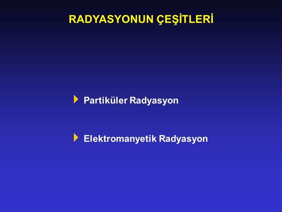 RADYASYONUN ÇEŞİTLERİ  Partiküler Radyasyon  Elektromanyetik Radyasyon