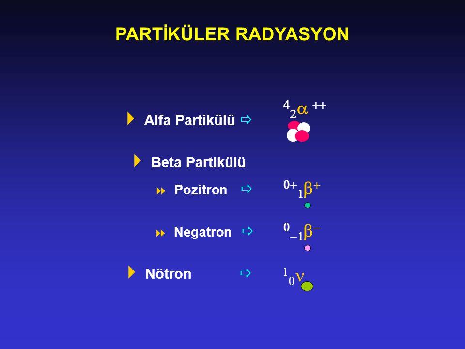 PARTİKÜLER RADYASYON  Alfa Partikülü   Beta Partikülü  Pozitron   Negatron   Nötron               