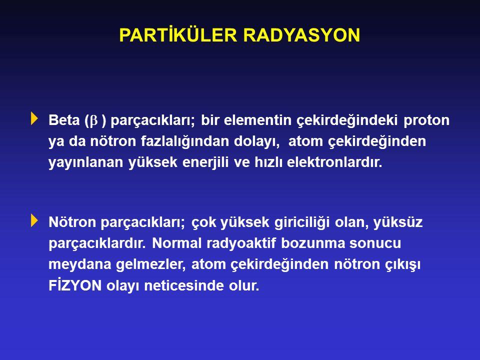 PARTİKÜLER RADYASYON  Beta (  ) parçacıkları; bir elementin çekirdeğindeki proton ya da nötron fazlalığından dolayı, atom çekirdeğinden yayınlanan y