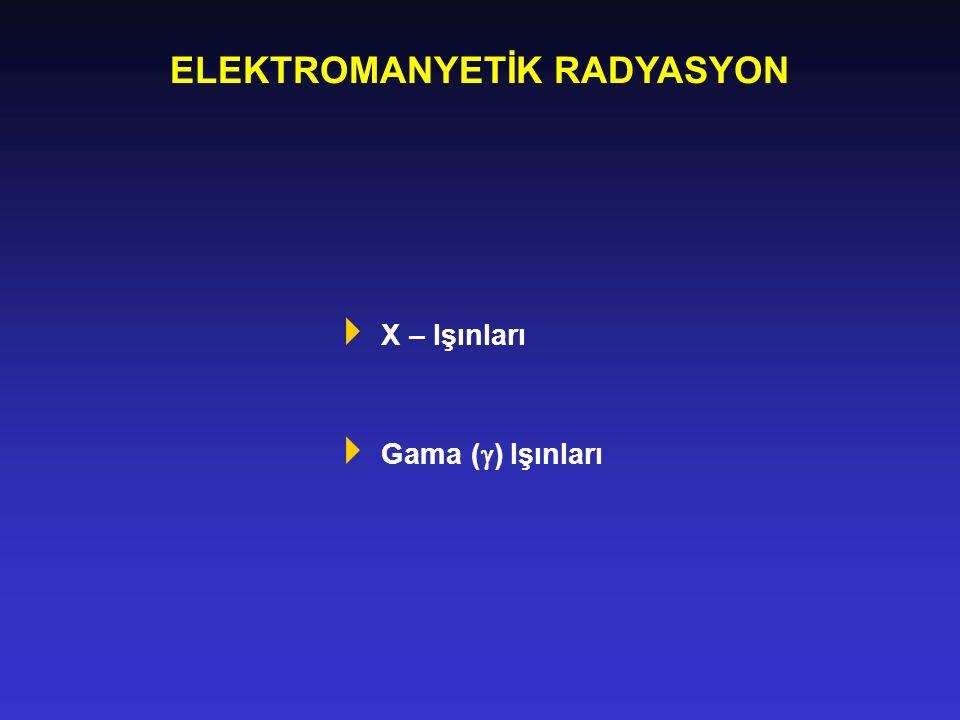 ELEKTROMANYETİK RADYASYON  X – Işınları  Gama (  ) Işınları