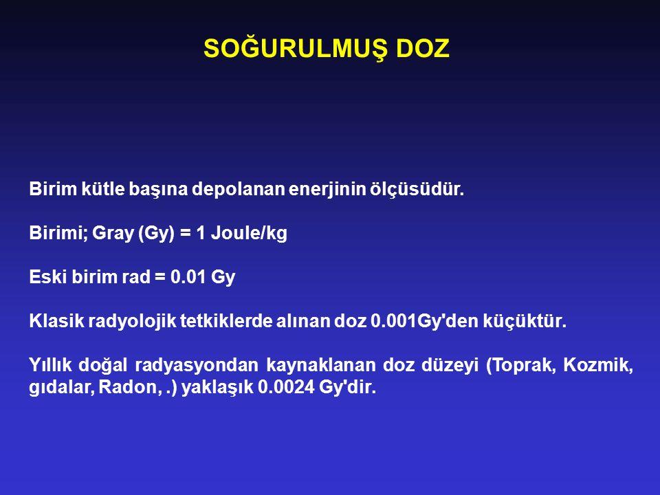 SOĞURULMUŞ DOZ Birim kütle başına depolanan enerjinin ölçüsüdür. Birimi; Gray (Gy) = 1 Joule/kg Eski birim rad = 0.01 Gy Klasik radyolojik tetkiklerde