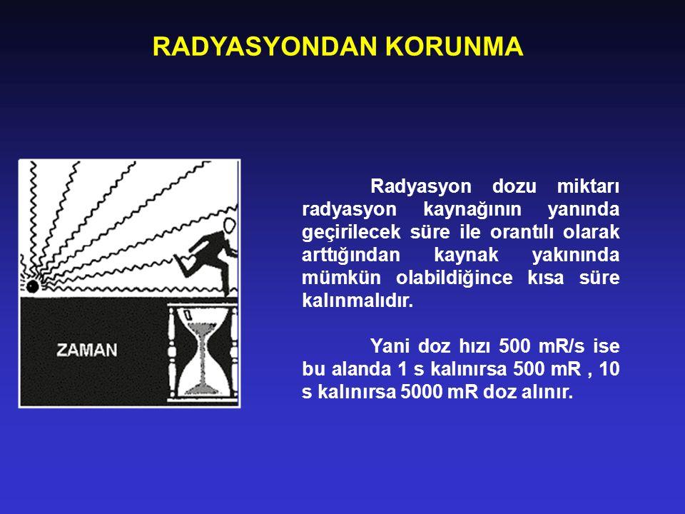 RADYASYONDAN KORUNMA Radyasyon dozu miktarı radyasyon kaynağının yanında geçirilecek süre ile orantılı olarak arttığından kaynak yakınında mümkün olab