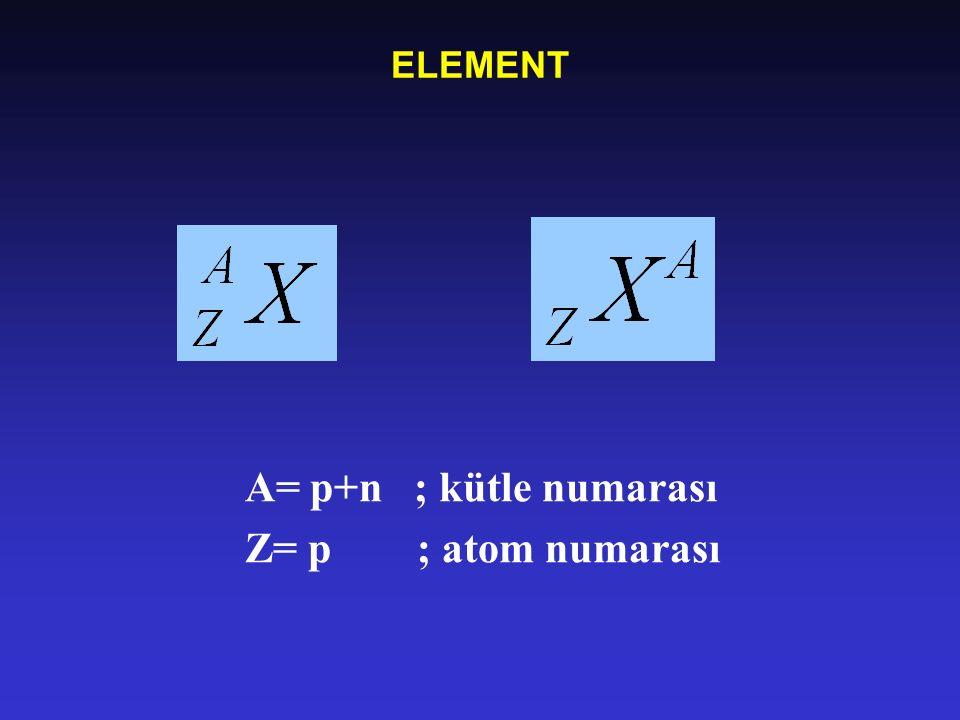 ELEMENT A= p+n ; kütle numarası Z= p ; atom numarası