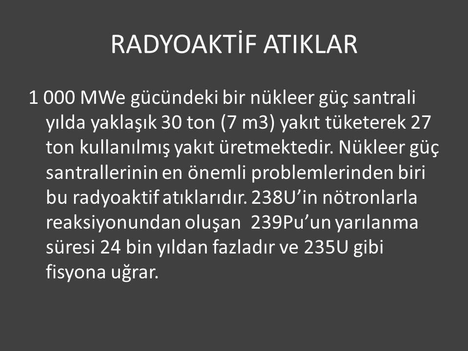 RADYOAKTİF ATIKLAR 1 000 MWe gücündeki bir nükleer güç santrali yılda yaklaşık 30 ton (7 m3) yakıt tüketerek 27 ton kullanılmış yakıt üretmektedir.