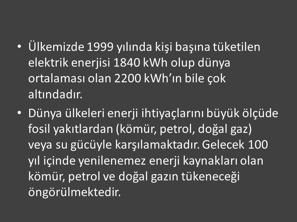 Ülkemizde 1999 yılında kişi başına tüketilen elektrik enerjisi 1840 kWh olup dünya ortalaması olan 2200 kWh'ın bile çok altındadır.