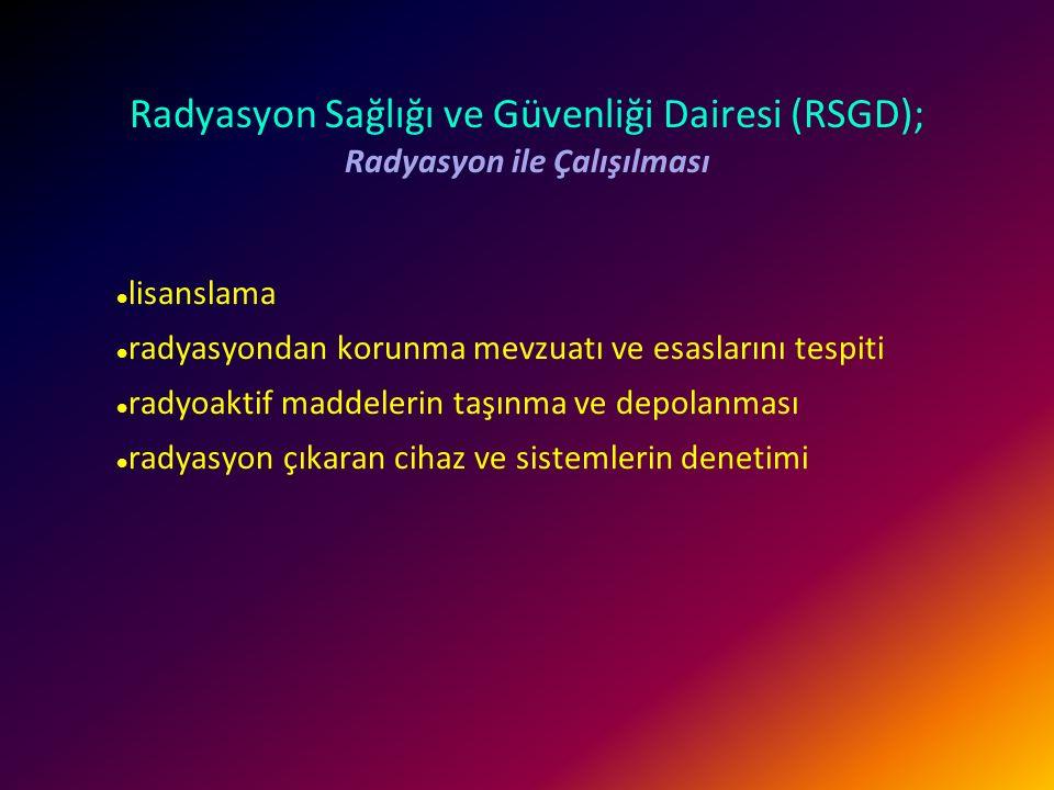TAEK görevleri Türkiye'de nükleer teknoloji ile ilgili yetkili kurum  Araştırma  Düzenleme  Denetim