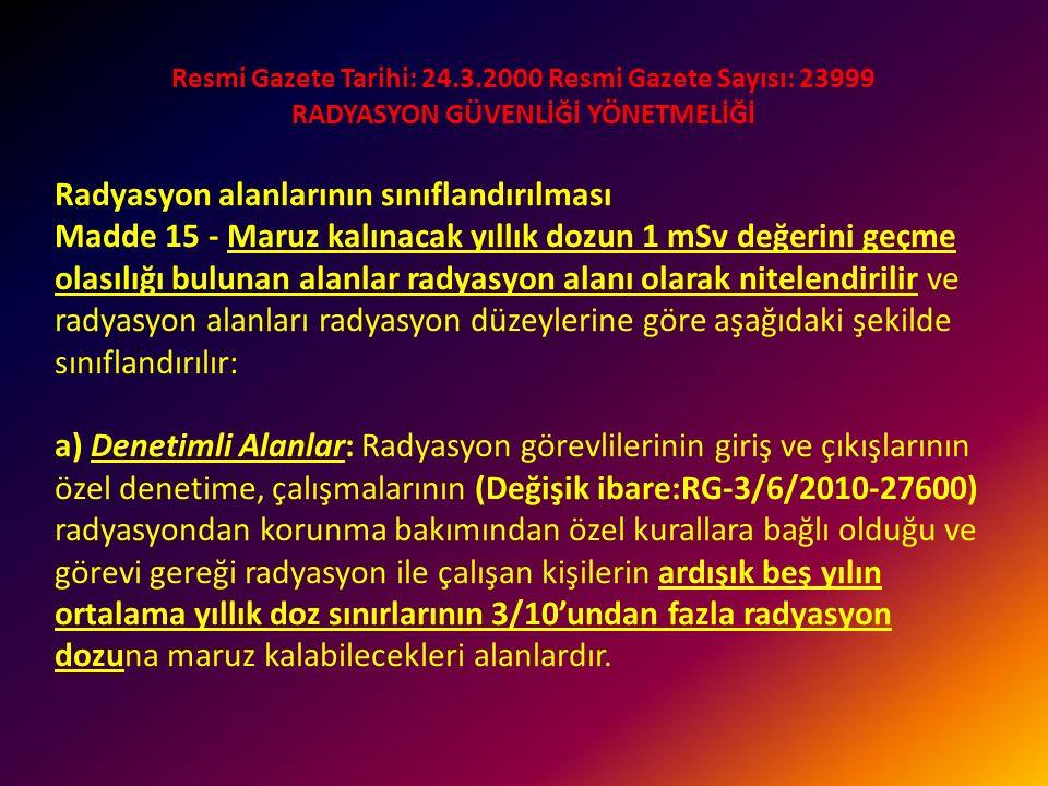 Resmi Gazete Tarihi: 24.3.2000 Resmi Gazete Sayısı: 23999 RADYASYON GÜVENLİĞİ YÖNETMELİĞİ Hamile radyasyon görevlileri için doz sınırları Madde 12 - (