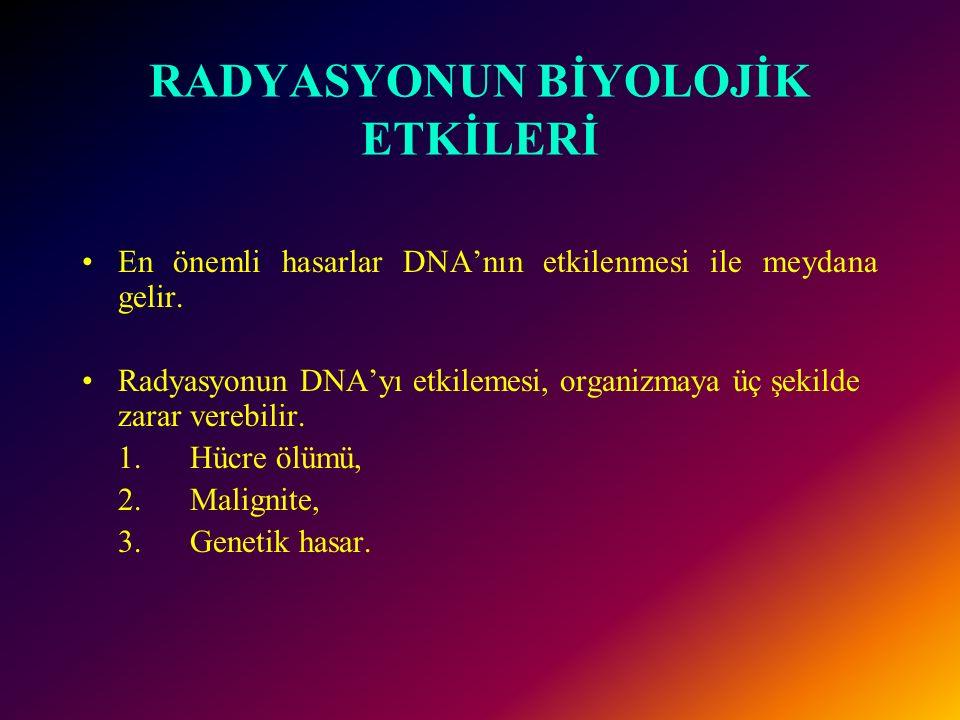 RADYASYONUN BİYOLOJİK ETKİLERİ En önemli hasarlar DNA'nın etkilenmesi ile meydana gelir.