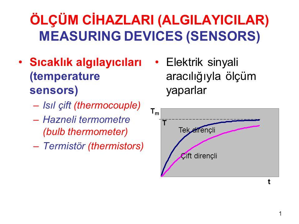 ÖLÇÜM CİHAZLARI (ALGILAYICILAR) MEASURING DEVICES (SENSORS) Sıcaklık algılayıcıları (temperature sensors) –Isıl çift (thermocouple) –Hazneli termometre (bulb thermometer) –Termistör (thermistors) Elektrik sinyali aracılığıyla ölçüm yaparlar 1 Tek dirençli Çift dirençli TmTm t T