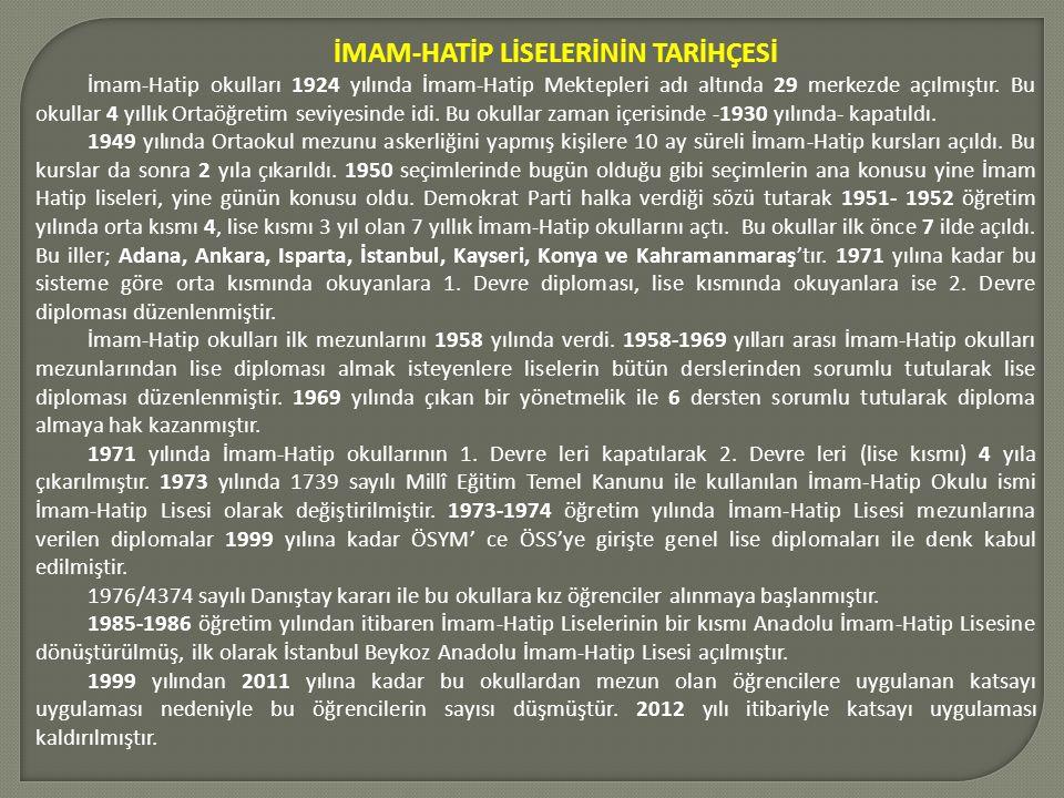 İMAM-HATİP LİSELERİNİN TARİHÇESİ İmam-Hatip okulları 1924 yılında İmam-Hatip Mektepleri adı altında 29 merkezde açılmıştır.