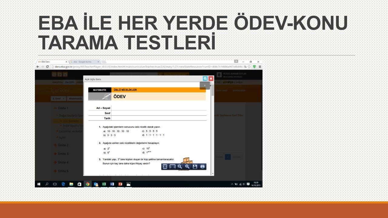 EBA İLE HER YERDE ÖDEV-KONU TARAMA TESTLERİ