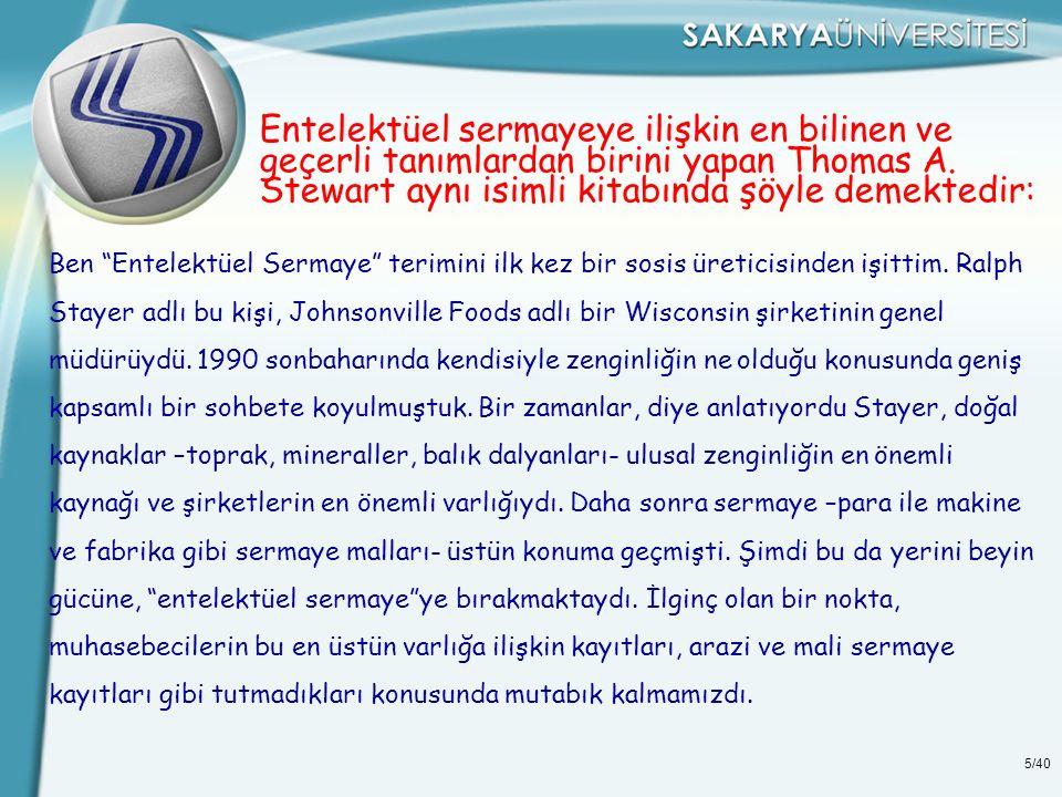 5/40 Entelektüel sermayeye ilişkin en bilinen ve geçerli tanımlardan birini yapan Thomas A.