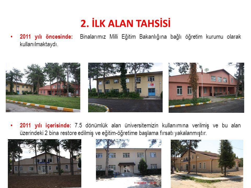 2. İLK ALAN TAHSİSİ 2011 yılı öncesinde: Binalarımız Milli Eğitim Bakanlığına bağlı öğretim kurumu olarak kullanılmaktaydı. 2011 yılı içerisinde: 7.5