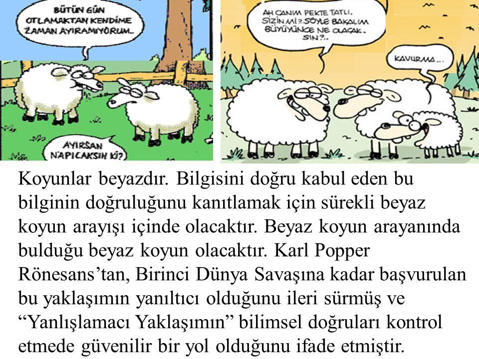Koyunlar beyazdır. Bilgisini doğru kabul eden bu bilginin doğruluğunu kanıtlamak için sürekli beyaz koyun arayışı içinde olacaktır. Beyaz koyun arayan