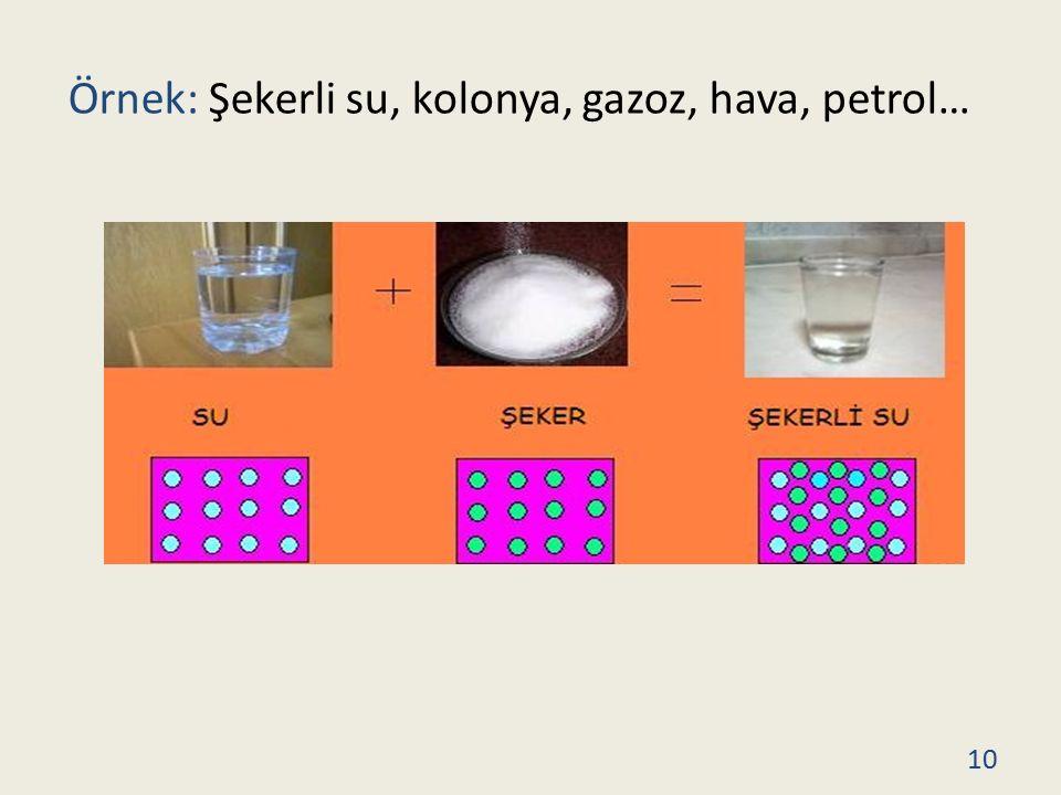 Örnek: Şekerli su, kolonya, gazoz, hava, petrol… 10