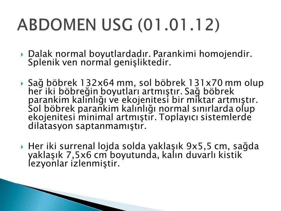  Dalak normal boyutlardadır. Parankimi homojendir. Splenik ven normal genişliktedir.  Sağ böbrek 132x64 mm, sol böbrek 131x70 mm olup her iki böbreğ