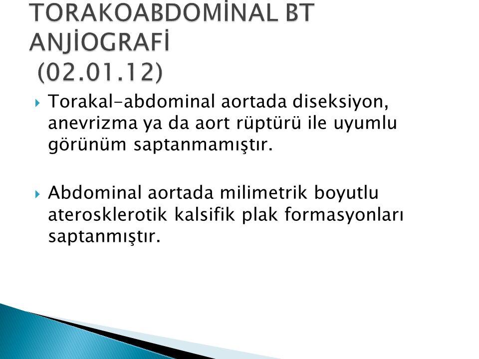  Torakal-abdominal aortada diseksiyon, anevrizma ya da aort rüptürü ile uyumlu görünüm saptanmamıştır.  Abdominal aortada milimetrik boyutlu aterosk