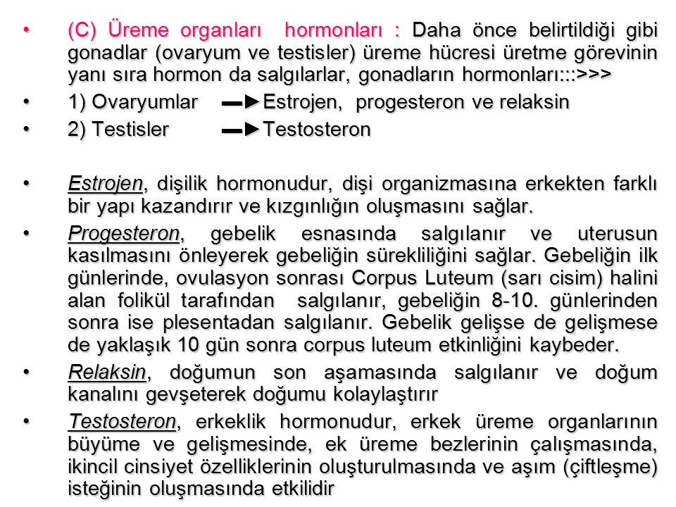 (C) Üreme organları hormonları : Daha önce belirtildiği gibi gonadlar (ovaryum ve testisler) üreme hücresi üretme görevinin yanı sıra hormon da salgılarlar, gonadların hormonları:::>>>(C) Üreme organları hormonları : Daha önce belirtildiği gibi gonadlar (ovaryum ve testisler) üreme hücresi üretme görevinin yanı sıra hormon da salgılarlar, gonadların hormonları:::>>> 1) Ovaryumlar ▬►Estrojen, progesteron ve relaksin1) Ovaryumlar ▬►Estrojen, progesteron ve relaksin 2) Testisler ▬►Testosteron2) Testisler ▬►Testosteron Estrojen, dişilik hormonudur, dişi organizmasına erkekten farklı bir yapı kazandırır ve kızgınlığın oluşmasını sağlar.Estrojen, dişilik hormonudur, dişi organizmasına erkekten farklı bir yapı kazandırır ve kızgınlığın oluşmasını sağlar.