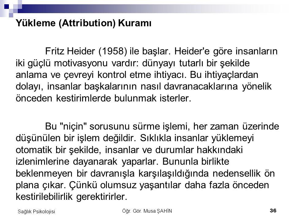 Öğr. Gör. Musa ŞAHİN 36 Sağlık Psikolojisi Yükleme (Attribution) Kuramı Fritz Heider (1958) ile başlar. Heider'e göre insanların iki güçlü motivasyonu