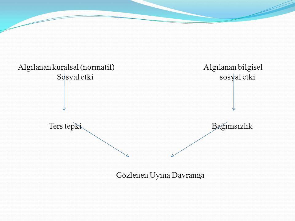 Algılanan kuralsal (normatif) Algılanan bilgisel Sosyal etki sosyal etki Ters tepki Bağımsızlık Gözlenen Uyma Davranışı