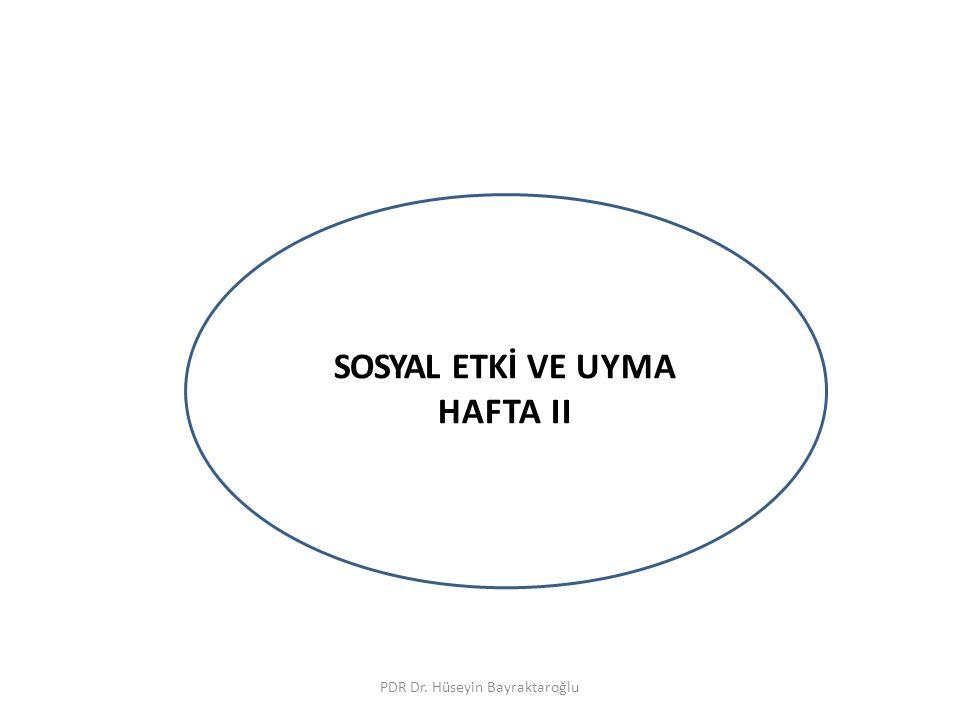 SOSYAL ETKİ VE UYMA PDR Dr.Hüseyin Bayraktaroğlu İnsan davranışları sosyaldir.