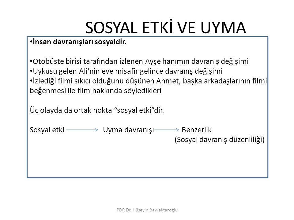 SOSYAL ETKİ VE UYMA PDR Dr. Hüseyin Bayraktaroğlu İnsan davranışları sosyaldir. Otobüste birisi tarafından izlenen Ayşe hanımın davranış değişimi Uyku