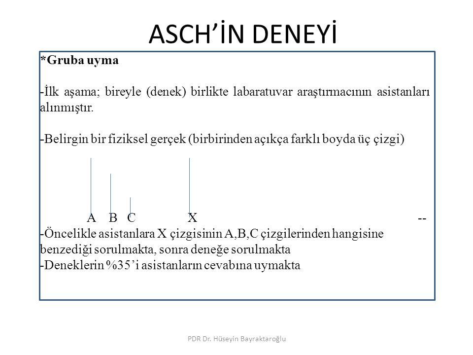 ASCH'İN DENEYİ PDR Dr. Hüseyin Bayraktaroğlu *Gruba uyma -İlk aşama; bireyle (denek) birlikte labaratuvar araştırmacının asistanları alınmıştır. -Beli