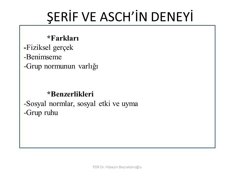 ÜÇ DENEYİN İLİŞKİSİ PDR Dr.