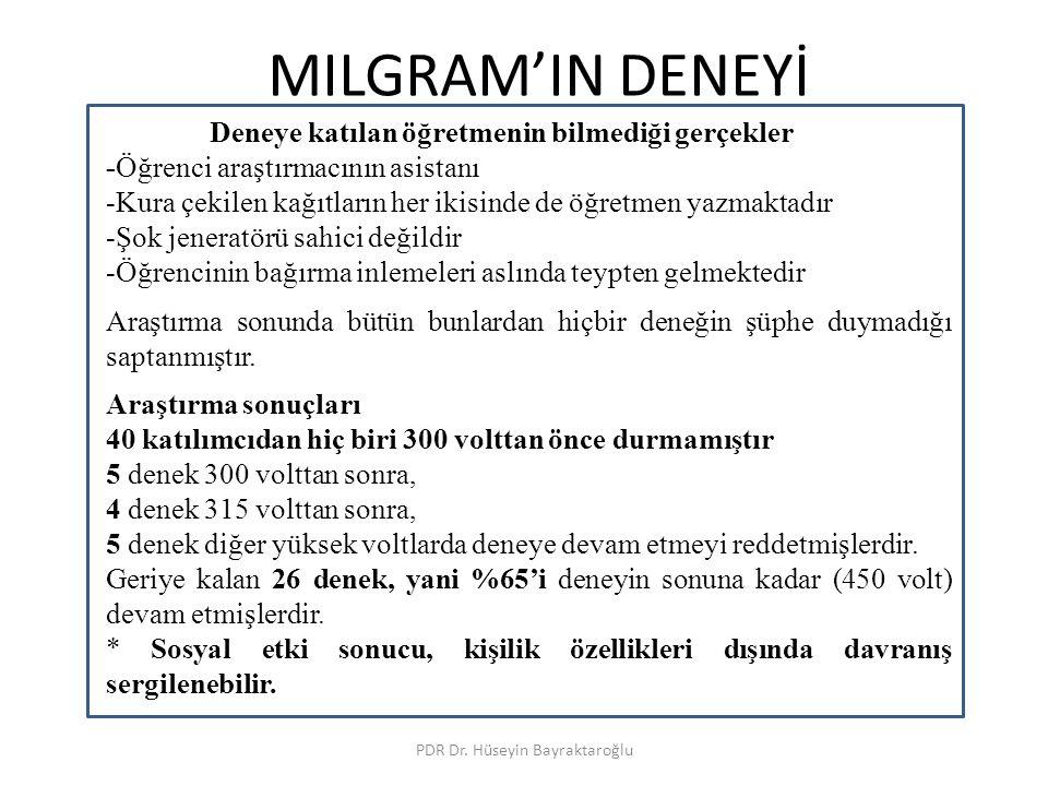 MILGRAM'IN DENEYİ PDR Dr. Hüseyin Bayraktaroğlu Deneye katılan öğretmenin bilmediği gerçekler -Öğrenci araştırmacının asistanı -Kura çekilen kağıtları