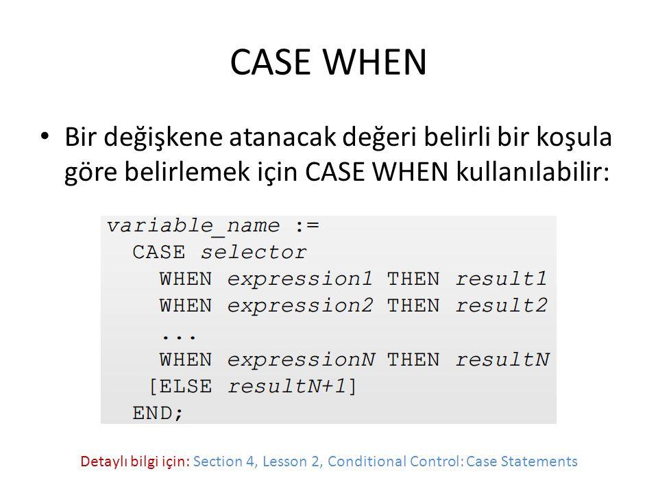 CASE WHEN Bir değişkene atanacak değeri belirli bir koşula göre belirlemek için CASE WHEN kullanılabilir: Detaylı bilgi için: Section 4, Lesson 2, Conditional Control: Case Statements