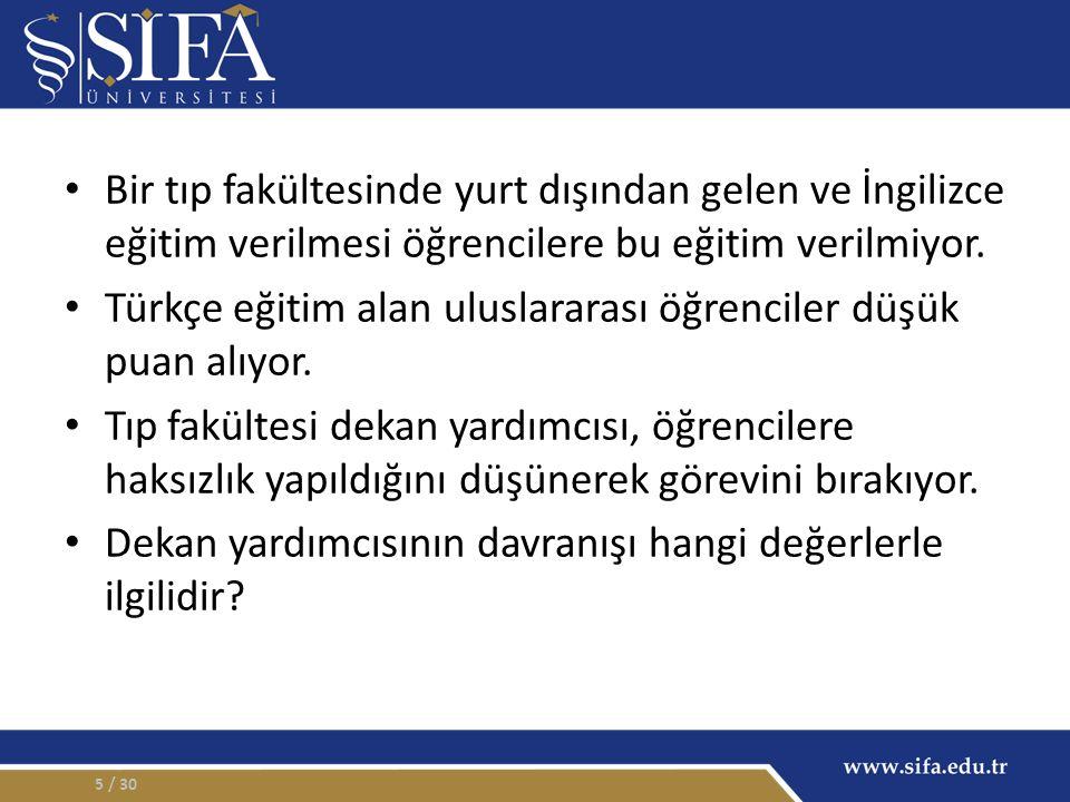 Bir tıp fakültesinde yurt dışından gelen ve İngilizce eğitim verilmesi öğrencilere bu eğitim verilmiyor. Türkçe eğitim alan uluslararası öğrenciler dü