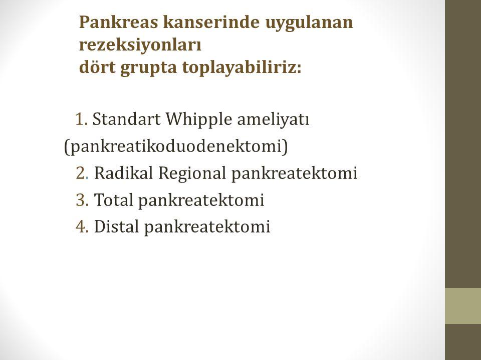 1. Standart Whipple ameliyatı (pankreatikoduodenektomi) 2.