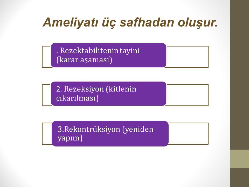 Ameliyatı üç safhadan oluşur.. Rezektabilitenin tayini (karar aşaması) 2. Rezeksiyon (kitlenin çıkarılması) 3.Rekontrüksiyon (yeniden yapım)
