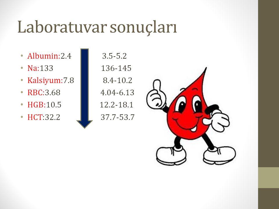 Laboratuvar sonuçları Albumin:2.4 3.5-5.2 Na:133 136-145 Kalsiyum:7.8 8.4-10.2 RBC:3.68 4.04-6.13 HGB:10.5 12.2-18.1 HCT:32.2 37.7-53.7