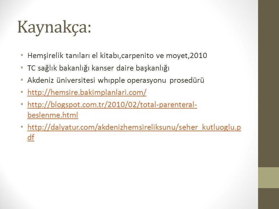 Kaynakça: Hemşirelik tanıları el kitabı,carpenito ve moyet,2010 TC sağlık bakanlığı kanser daire başkanlığı Akdeniz üniversitesi whıpple operasyonu prosedürü http://hemsire.bakimplanlari.com/ http://blogspot.com.tr/2010/02/total-parenteral- beslenme.html http://blogspot.com.tr/2010/02/total-parenteral- beslenme.html http://dalyatur.com/akdenizhemsireliksunu/seher_kutluoglu.p df http://dalyatur.com/akdenizhemsireliksunu/seher_kutluoglu.p df