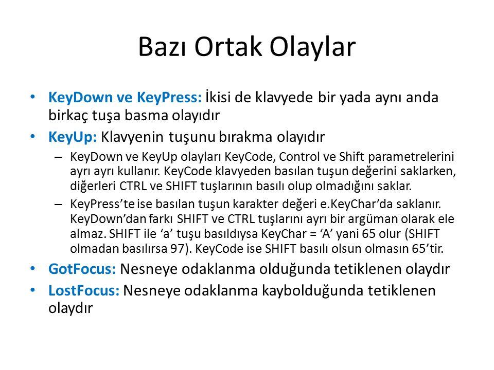 Bazı Ortak Olaylar KeyDown ve KeyPress: İkisi de klavyede bir yada aynı anda birkaç tuşa basma olayıdır KeyUp: Klavyenin tuşunu bırakma olayıdır – KeyDown ve KeyUp olayları KeyCode, Control ve Shift parametrelerini ayrı ayrı kullanır.