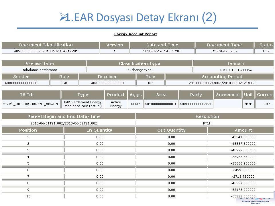  1.EAR Dosyası Detay Ekranı (2) Dökümanın içeriğinin belirlendiği alanlar. Dokümanın hangi ana gruba ait olduğunu belirtir. Dikkat edilebilecek diğer