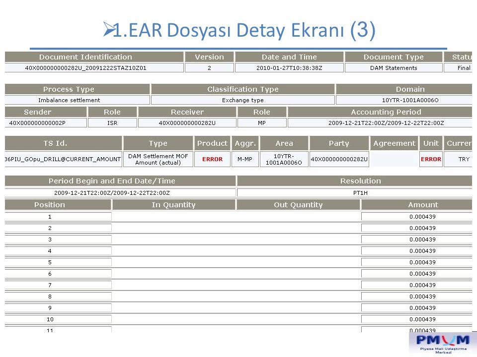  1.EAR Dosyası Detay Ekranı (3) Dökümanın içeriğinin belirlendiği alanlar. Dokümanın hangi ana gruba ait olduğunu belirtir. Dikkat edilebilecek diğer