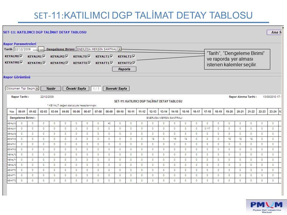 """SET- 11 : KATILIMCI DGP TALİMAT DETAY TABLOSU """"Tarih"""", """"Dengeleme Birimi"""" ve raporda yer alması istenen kalemler seçilir."""