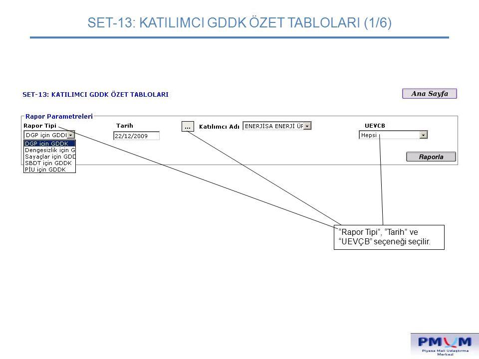 """SET-13: KATILIMCI GDDK ÖZET TABLOLARI (1/6) """"Rapor Tipi"""", """"Tarih"""" ve """"UEVÇB"""" seçeneği seçilir."""