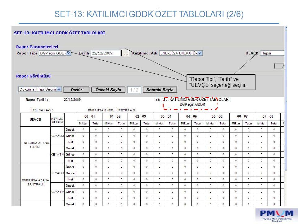 """SET-13: KATILIMCI GDDK ÖZET TABLOLARI (2/6) """"Rapor Tipi"""", """"Tarih"""" ve """"UEVÇB"""" seçeneği seçilir."""